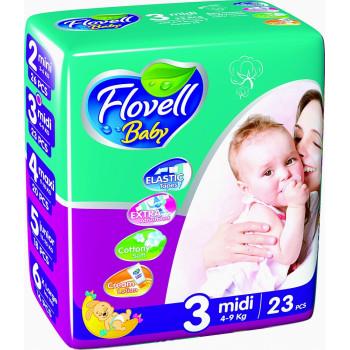 Flovell Baby подгузники #3, 4-9кг, 23шт (22146)