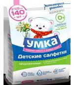 Умка гипоаллергенные детские влажные салфетки, с экстрактом ромашки и череды, 0+ месяцев, эконом 2х70шт (23907)