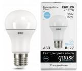 gauss elementary светодиодная лампа А 60, 15 ватт, холодный цвет 6500К, 1шт (72772)