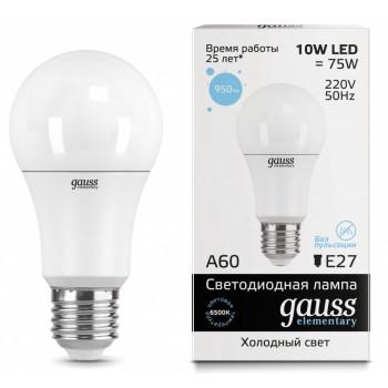 gauss elementary светодиодная лампа А 60, 10 ватт, холодный цвет 6500К, 1шт (72734)