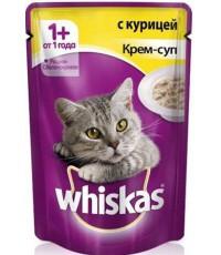 Whiskas консервированный корм для взрослых кошек, крем-суп с курицей, 85гр (75829)