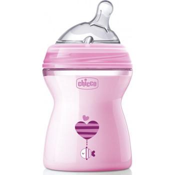 Chicco Natural Feeling пластиковая бутылочка, с круглой силиконовой соской, 2 капля - средний поток, розовая, 2+ месяцев, 250мл (80762)