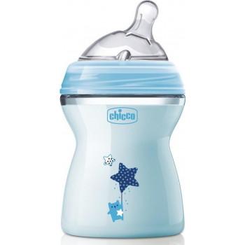Chicco Natural Feeling пластиковая бутылочка, с круглой силиконовой соской, 2 капля - средний поток, голубая, 2+ месяцев, 250мл (85019)