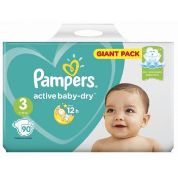 Pampers actiive baby dry подгузники #3, 6-10 кг, 90шт (65024)