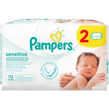 Pampers sensitive детские влажные салфетки 112шт (36670)