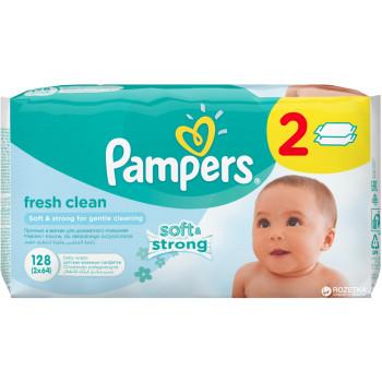 Pampers soft & strong детские влажные салфетки 128шт (39202)