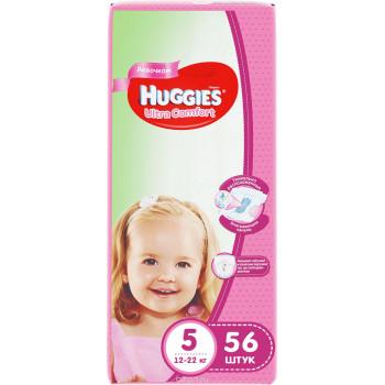 Huggies ultra comfort подгузники для девочек , #5, 12-22 кг, 56шт (43642)
