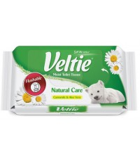 Veltie Natural care влажная смываемая туалетная бумага, ромашка и алое вера, 42шт (98149)