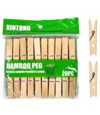 Bamboo Peg деревянные прищепки большие, длинна 7см, 20шт (58865)