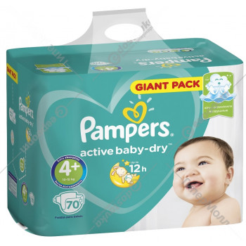 Pampers active baby-dry подгузники, 4+, 10-15кг, 70шт (65420)