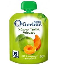 Gerber пюре сашет, яблоко тыква абрикос, с 6 месяцев, 90гр (34999)