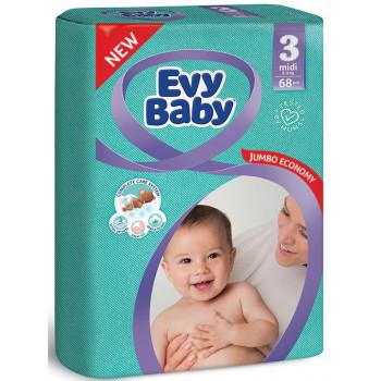 Evy Baby подгузники midi #3, 5-9кг, 68шт (11985)