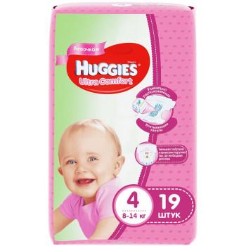 Huggies ultra comfort #4 подгузники, 8-14 кг, для девочек, 19шт (43567)