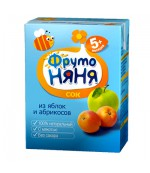 Фруто Няня сок (яблоко,абрикос) 5 месяцев 0,2 л (00237)