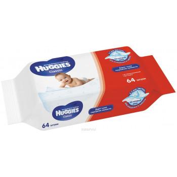 Huggies сlassic влажные салфетки для детей, 64шт (40047)