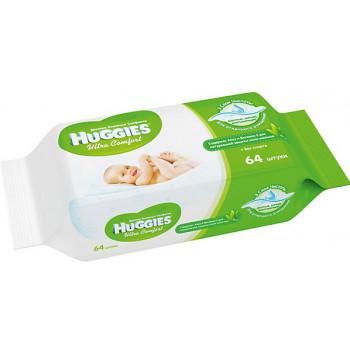 Huggies детские влажные салфетки, Алое, 64шт (34732)