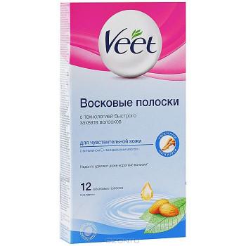 Veet juicy восковые полоски для Чуствительной кожи, 12шт+2 салфетки (27259)