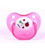 Bebeneo круглая пустышка прозрачная с крышкой, розовая 6+12 месяцев, 1шт (0729) (07294)