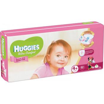 Huggies ultra comfort подгузники #4+, 10-16 кг, для девочек, 68шт (43765)