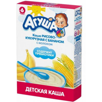 Агуша каша молочная, рис-кукуруза, банан, с 6 месяцев, 200гр (19678)