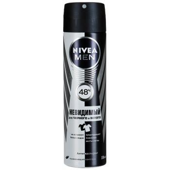 Nivea Men спрей дезодорант-антиперспирант, невидимый для черного и белого, 150мл (35622)