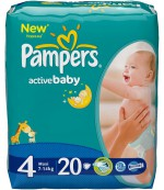 Pampers active baby #4 подгузники, 7-14 кг, 20шт (02527)