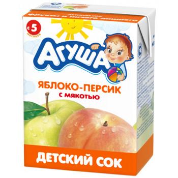 Агуша сок (яблоко,персик с мякотью) 5 месяцев 0,2 л (02961)
