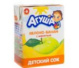 Агуша сок яблоко,банан с мякотью, с 6 месяцев, 0,2 л (00516)