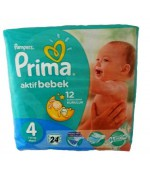 Pampers prima #4 aktif bebek  подгузники, 7-14 кг, 24шт (92515)