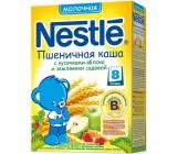 Nestle каша молочная, пшеничная с кусочками яблока,земляники, с 8 месяцев, 220гр (31368)(00515)