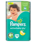 Pampers active baby dry #4+ подгузники, 9-16 кг, 70шт (36325)