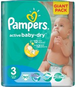 Pampers active baby dry #3 подгузники, 4-9 кг, 90шт (36226)