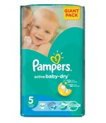 Pampers active baby dry#5 подгузники, 11-16 кг, 64шт (36370)