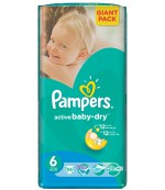 Pampers active baby dry #6 подгузники, 15+ кг, 56шт (36424)