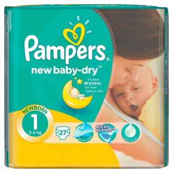 Pampers new baby подгузники #1, 2-5 кг, 27шт (64453)