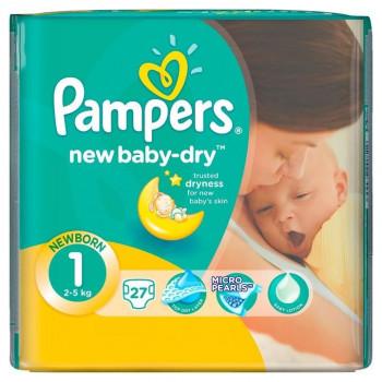 Pampers new baby подгузники #1, 2-5 кг, 27шт (64453)