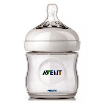 Philips AVENT Natural пластиковая бутылочка для кормления, с круглой силиконовой соской, 1 капля - минимальный поток, 0+ месяцев, 125мл, 1шт (scf690/17) (61811)