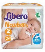 Libero newborn #2 подгузники, 3-6 кг, 24 шт (66007)