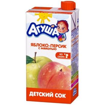 Агуша сок Яблоко-Персик с мякотью, от 3 лет, 0,5л (02978)