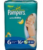 Pampers active baby dry #6 подгузники, 15+ кг, 16 шт (12612)
