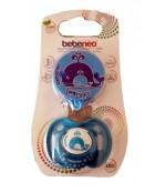 Bebeneo пустышка круглая силиконовая с колпачком+цепочка для пустышки, от 12месяцев, синий, 1шт 0930 (09304)