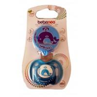 Bebeneo пустышка круглая силиконовая с колпачком+цепочка для пустышки, от 12месяцев, синий, 1шт 0930 (89252)