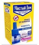 Чистый дом жидкость (запаска для электрофумигатора) от комаров, от 30ночей, 29мл (20825)