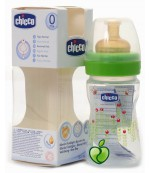 Chicco Well Being пластиковая бутылочка, с круглой латексной соской, 1 капля - регулярный поток, зеленая, 0+ месяцев, 150мл (79268)