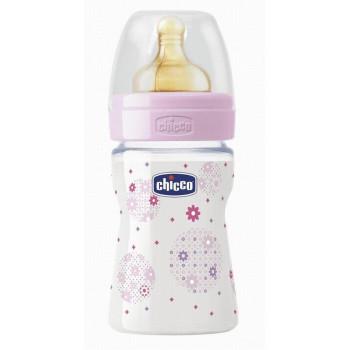 Chicco Benessere-Well-Being пластиковая бутылочка, с круглой силиконовой соской, 1 капля - регулярный поток, розовая, 0+ месяцев, 150мл (79183)