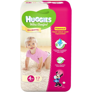 Huggies ultra comfort 4+ подгузники 10-16 кг, для девочек 17шт (43741)