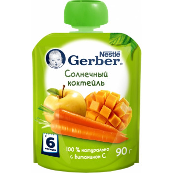 Gerber пюре сашет, солнечный коктейль, с 6 месяцев, 90гр (62645)