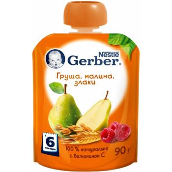 Gerber пюре сашет, груша, малина и злаки, с 6 месяцев, 90гр (62676)