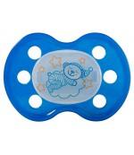 Baby Nova ортодонтическая пустышка, силиконовая, ночная, синяя без ручки с 6-18 месяцев, 1шт (42425)