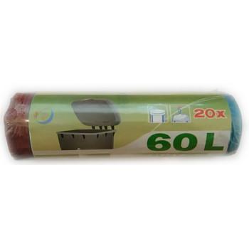 Пакеты для мусора, с затяжками 60л*20шт (00772)